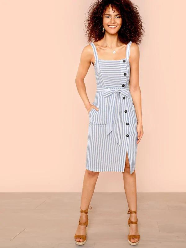 Women Button Up Self Belted Striped Dress With Strap