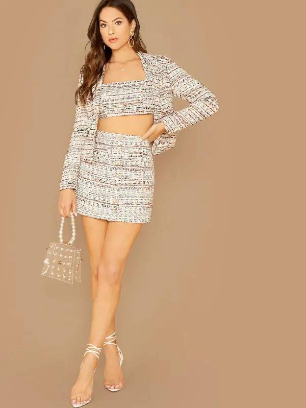Women Buttoned Front Tweed Skirt