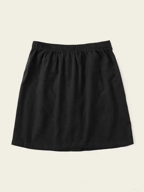 Women Buttoned Tie Front Skirt