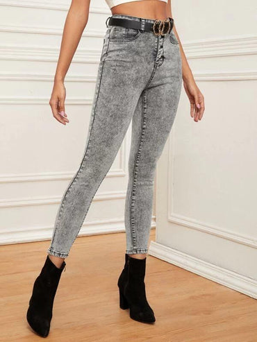 Women Buttoned Fly Bleach Wash Skinny Jeans Without Belt