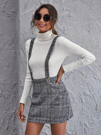 Women Buttoned Strap Plaid Skirt