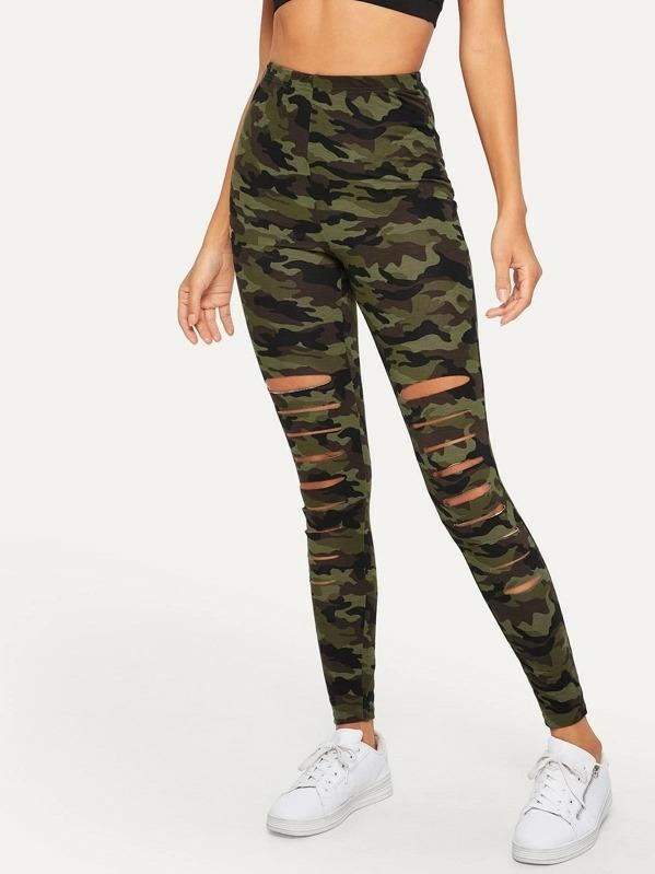 All sizes available Camo ripped leggings