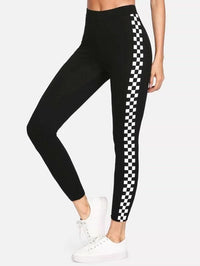 Women Checkered Sideseam Stretch Leggings