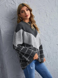 Women Chevron Panel Plaid Raglan Sleeve Sweater