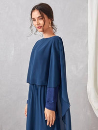 Women Chiffon Zip Back Cape Overlay Dress