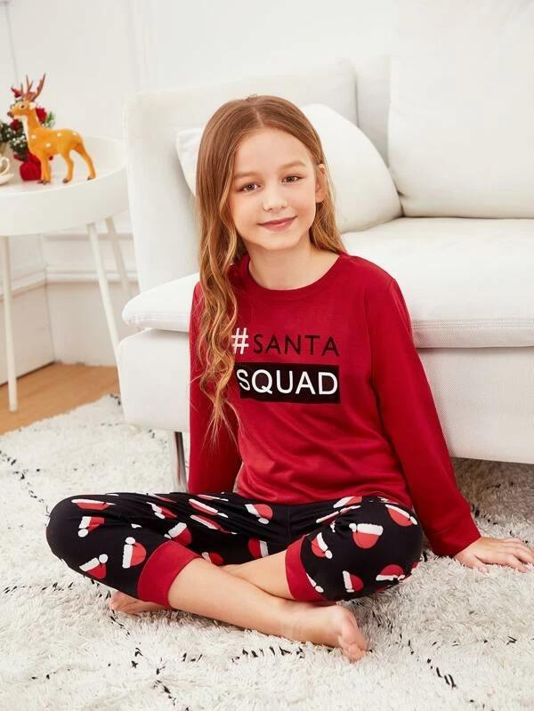 Christmas Girls Letter & Hat Print PJ Set