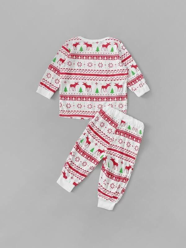 Christmas Toddler Girls Cartoon Graphic PJ Set