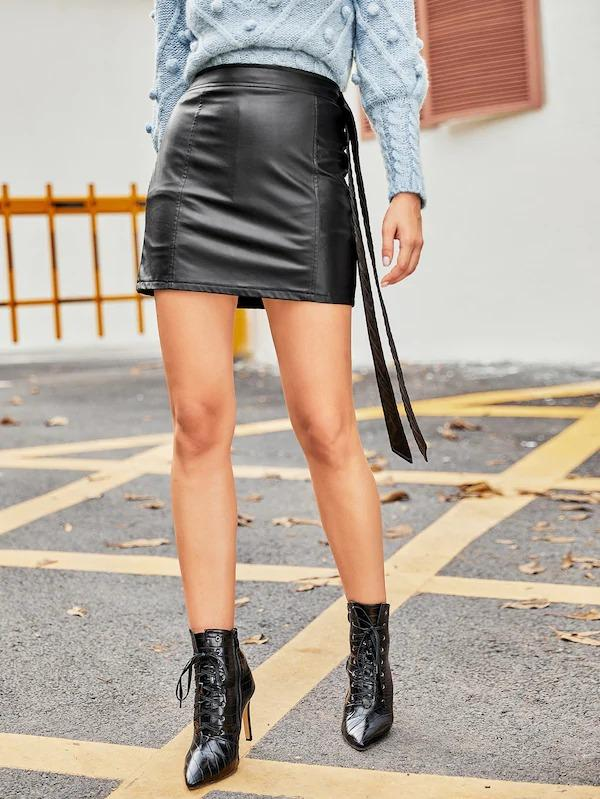 Women Coated Bodycon Skirt With Belt