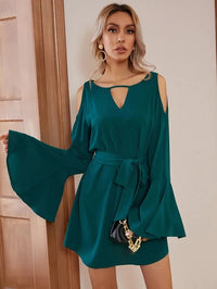 Women Cold Shoulder Flounce Sleeve Belted Dress