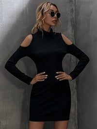 Women Cold Shoulder Solid Fitted Dress