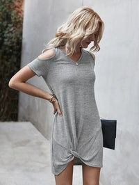 Women Cold Shoulder Twist Hem Tee Dress