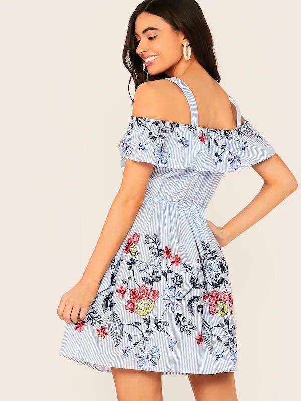 Women Cold Shoulder Ruffle Trim Embroidery Detail Flare Dress