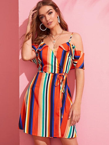 Women Cold Shoulder Wrap Belted Striped Dress