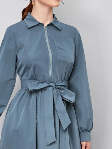 Women Collared Zip Up Pocket Front Self Belted Dress