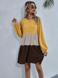 Women Color-block Ruffle Hem Waffle Smock Dress Without Belt