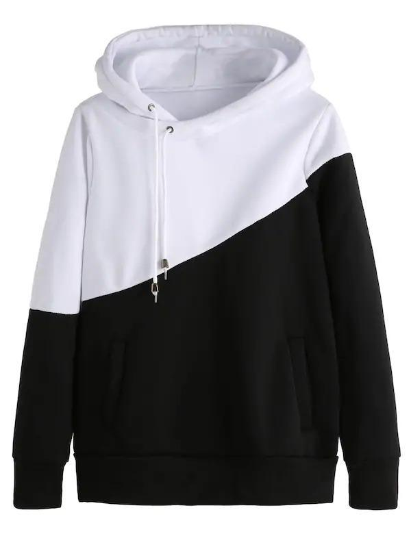 Women Color Block Cut And Sew Hoodie