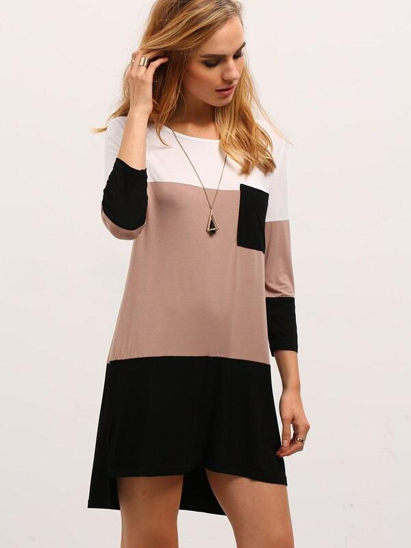 Women Color Block Dress With Pocket