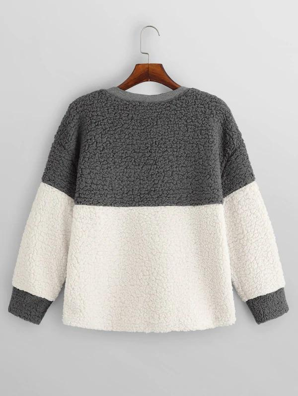 Women Color Block Pocket Front Teddy Pullover