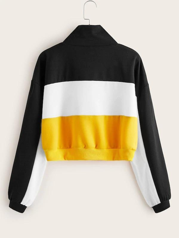 Women Color Block Zip Up Sweatshirt