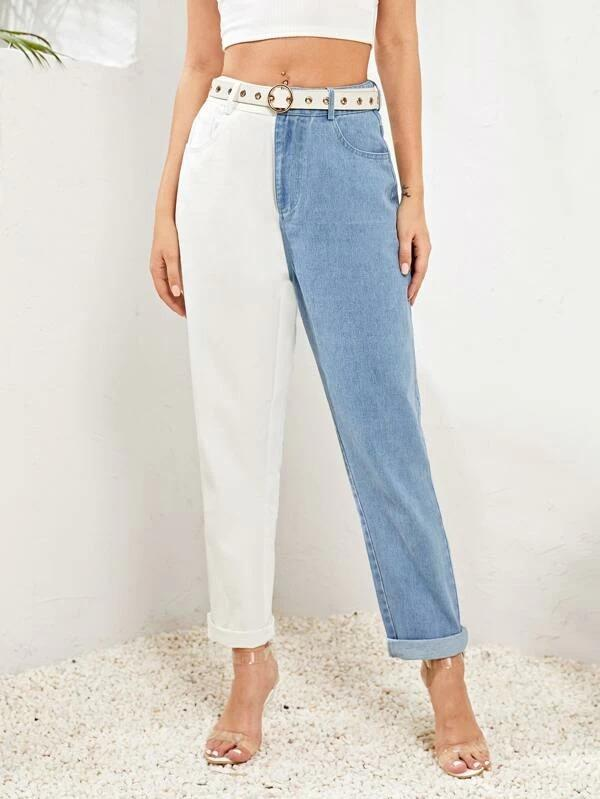 Women Colorblock Carrot Jeans Without Belt