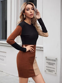 Women Colorblock Rib-knit Bodycon Dress
