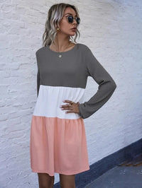 Women Colorblock Waffle Knit Smock Dress