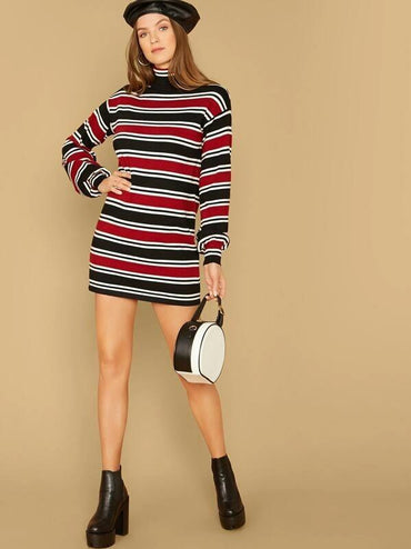Women Colorblock Striped Tee Dress