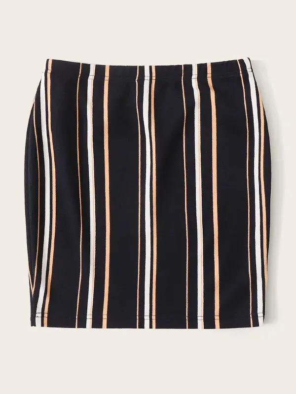 Women Colorful Striped Pencil Skirt