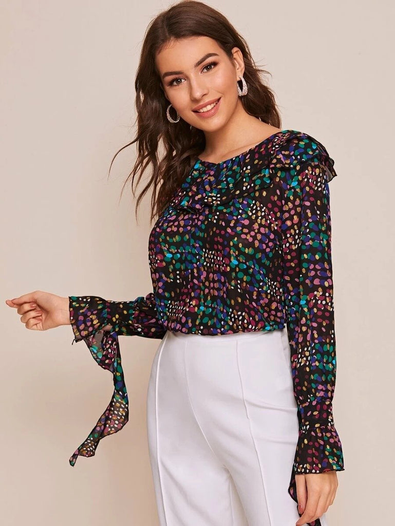 Women Colorful Confetti Ruffle Trim Chiffon Blouse