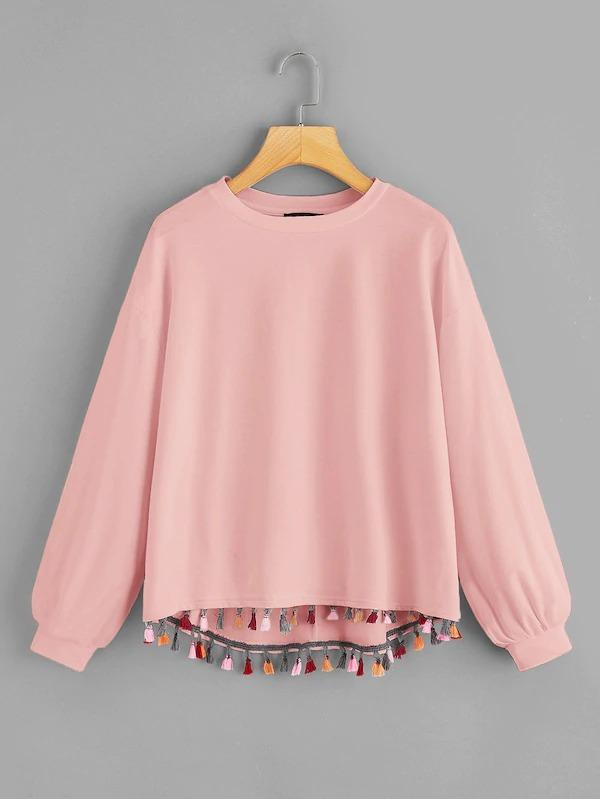Women Colorful Tassel Trim Dip Hem Heathered Pullover