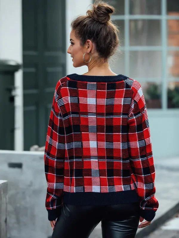 Women Contrast Binding Plaid Pullover Sweater
