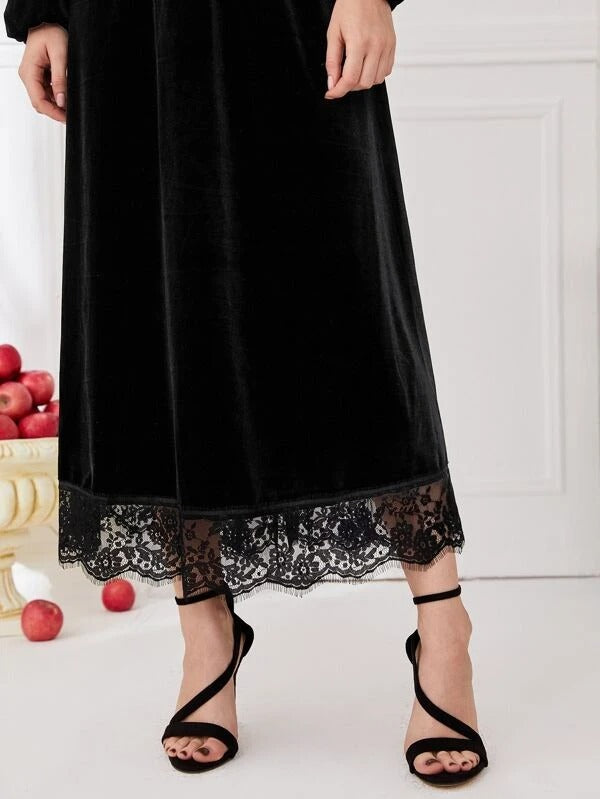 Women Contrast Lace Bishop Sleeve Velvet Dress