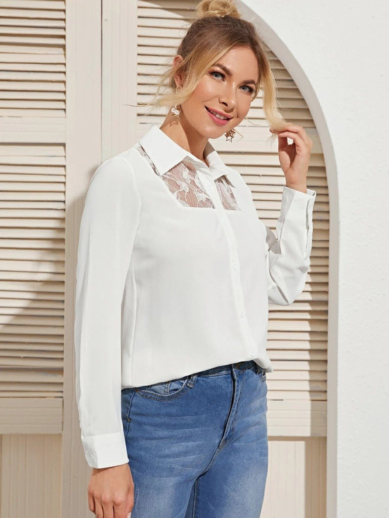 Women Contrast Lace Button Through Blouse
