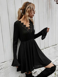 Women Contrast Lace Rib-knit A-line Dress