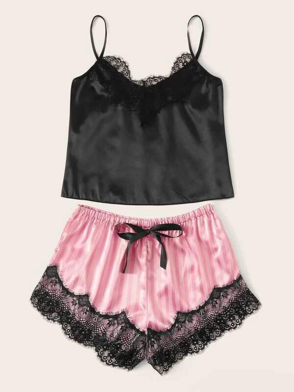 Women Contrast Lace Satin Cami Top With Striped Shorts