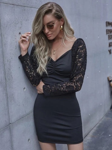 Women Contrast Lace Sleeve Fitted Dress