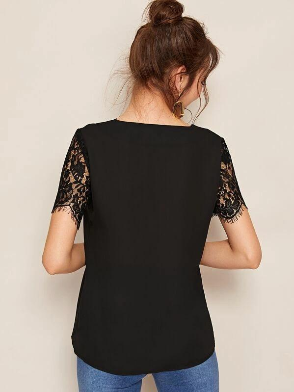 Women Contrast Lace Sleeve V-neck Blouse