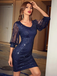 Women Contrast Mesh Sleeve Sequin Bodycon Dress