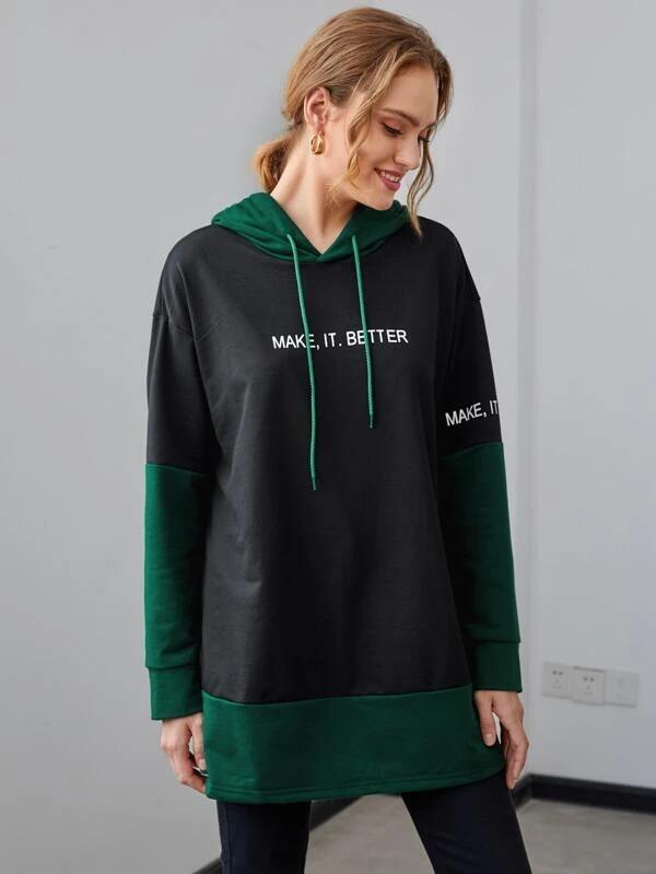 Women Contrast Panel Slogan Graphic Drawstring Hoodie