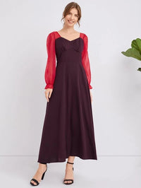 Women Contrast Sleeve Wide Waistband A-line Dress
