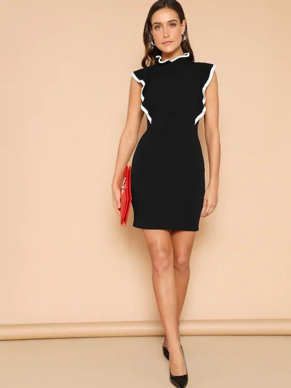Women Contrast Binding Flounce Bodycon Dress