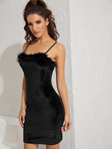 Women Contrast Feather Flannel Cami Bodycon Dress