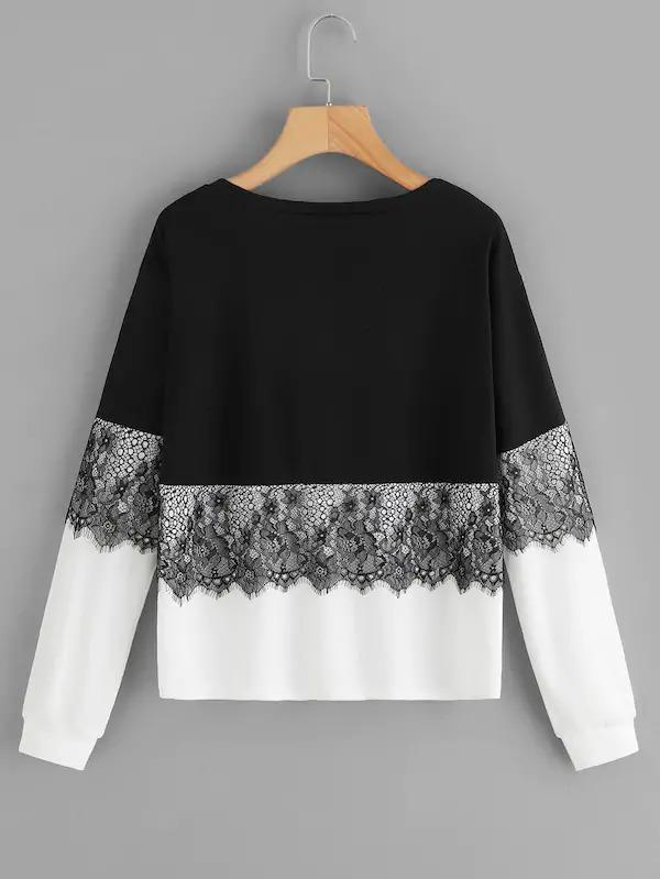 Women Contrast Lace Colorblock Sweatshirt