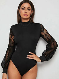 Women Contrast Mesh Sleeve Mock Neck Bodysuit