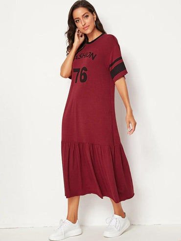Women Contrast Neck Varsity Print Flippy Hem Dress