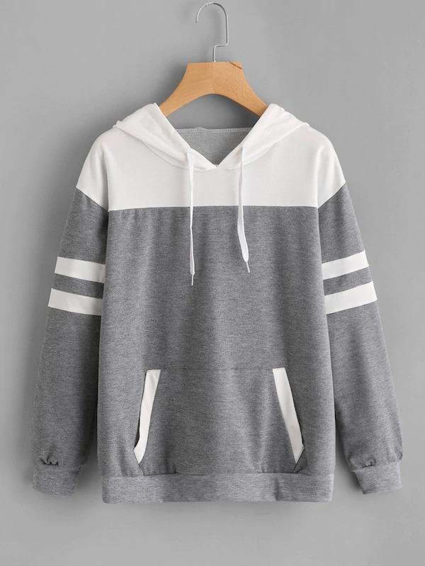 Women Contrast Panel Varsity Striped Marled Hoodie