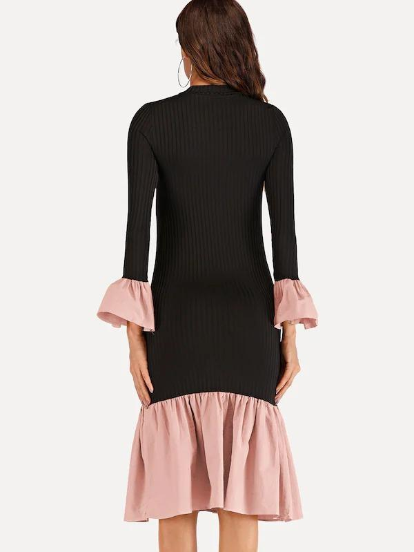 Women Contrast Ruffle Hem Knit Dress