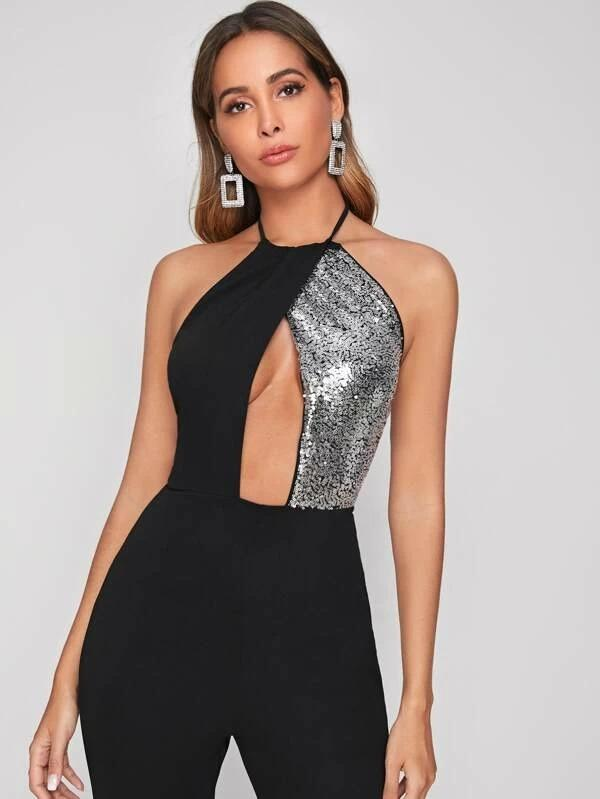 Women Contrast Sequin Cutout Front Backless Halter Jumpsuit