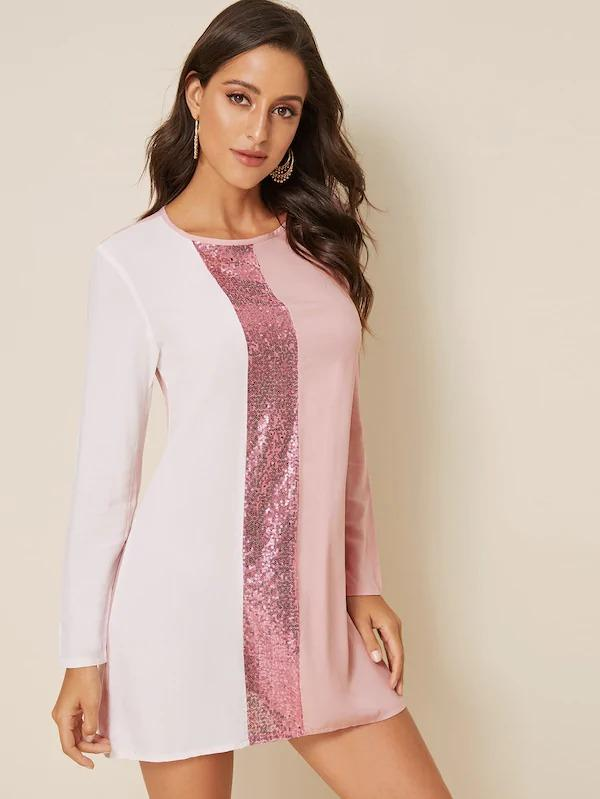 Women Contrast Sequin Tunic Dress