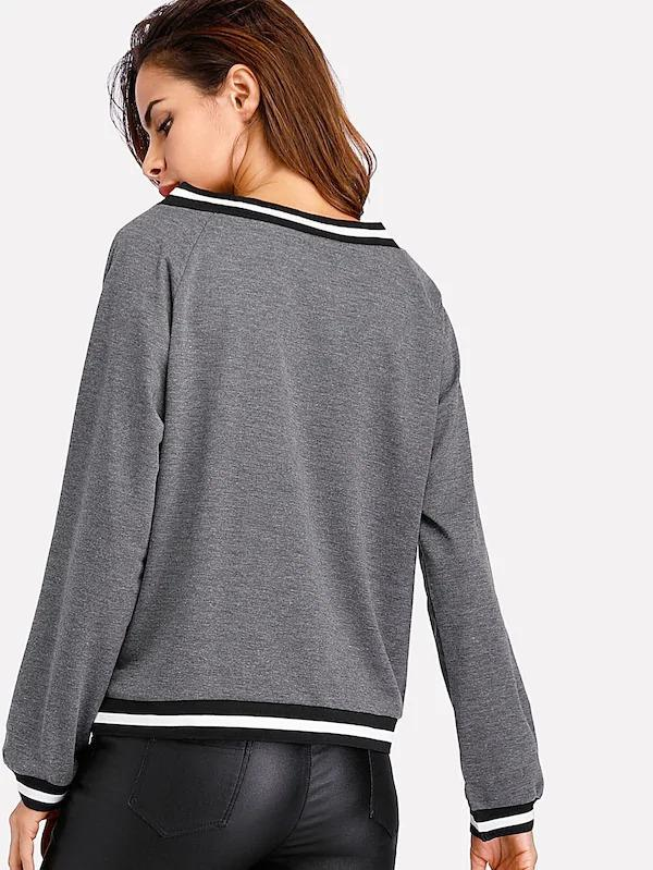 Women Contrast Striped Trim V-Neckline Sweatshirt